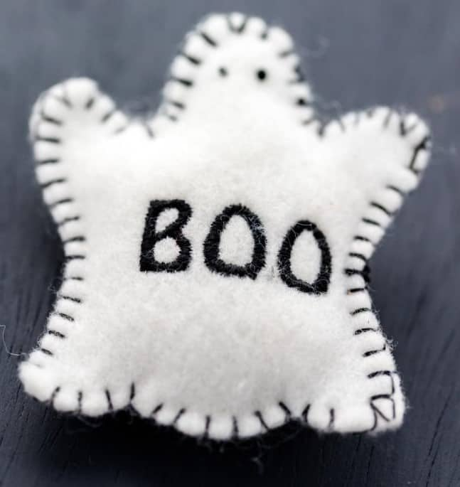 """Hand-sewn ghost stuffie that says """"boo"""""""